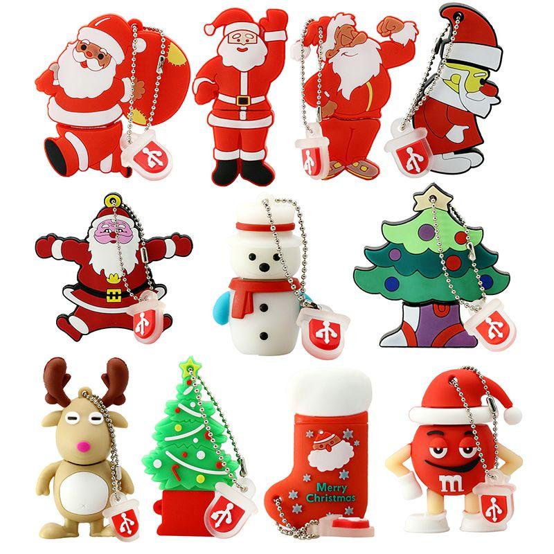 Wholesale Pen Drive Cartoon Snowman Christmas Tree Gifts 4gb 8gb 16gb 32gb 64gb Santa Claus Usb Flas Christmas Tree With Gifts Snowman Christmas Tree Tree Gift