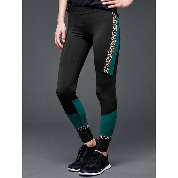 c9247a1126 Gap Women Gapfit Gfast Animal Stripe Leggings featuring polyvore, fashion,  clothing, activewear, activewear pants, leopard print, regular, gap  activewear ...