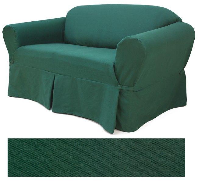 Twill Emerald Sofa Slipcovers Apartment Living Room Slipcovered