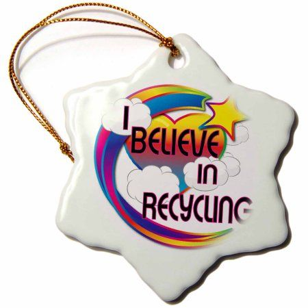 3dRose I Believe In Recycling Cute Believer Design, Snowflake Ornament, Porcelain, 3-inch