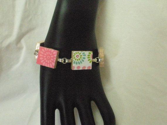 Pink scrabble tile bracelet by madebymandy35 on Etsy, $15.00