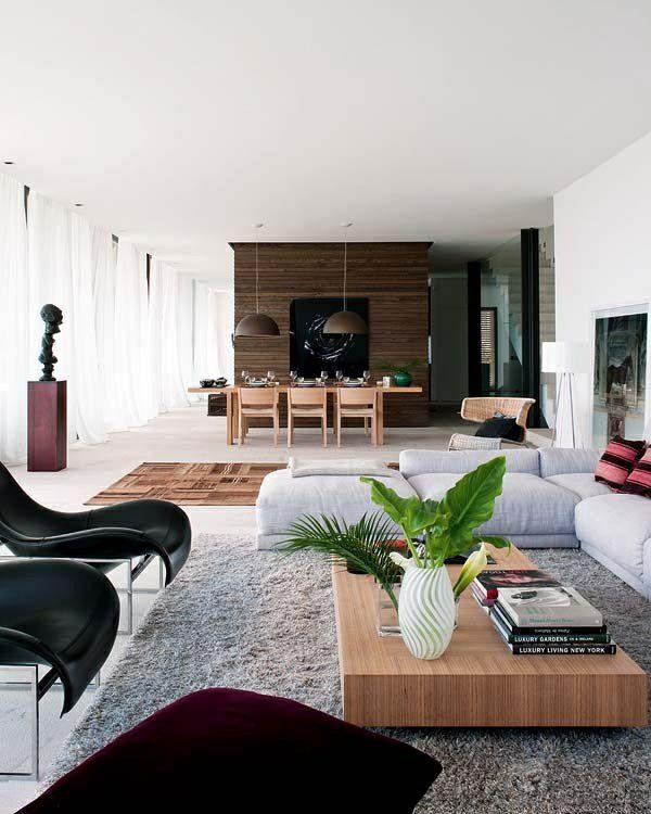 wohnzimmer einrichten offener raum stühle sofa teppich tisch - moderne offene wohnzimmer