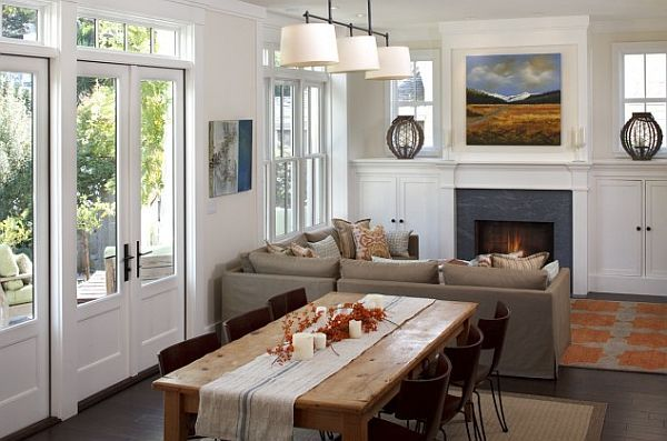 Wonderful Fireplaces In The Dining Room For Cozy And Warm: Wonderful Small Home Design With Cozy Atmosphere And