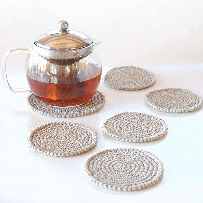 Set of hand crocheted linen doilies - Set of flax coasters and a teapot pad by KnittedLT on Etsy