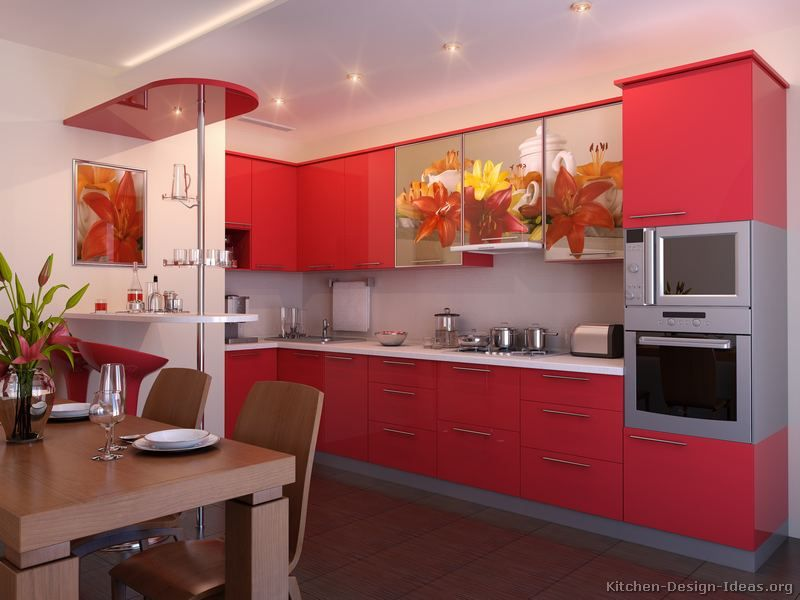 Incroyable #Kitchen Idea Of The Day: Check Out These Modern Red Kitchens.