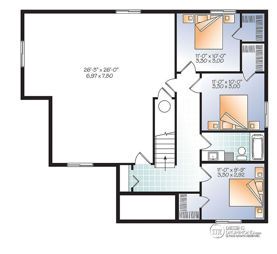 Détail du plan de Maison unifamiliale W3133-V4 Maison idée plan