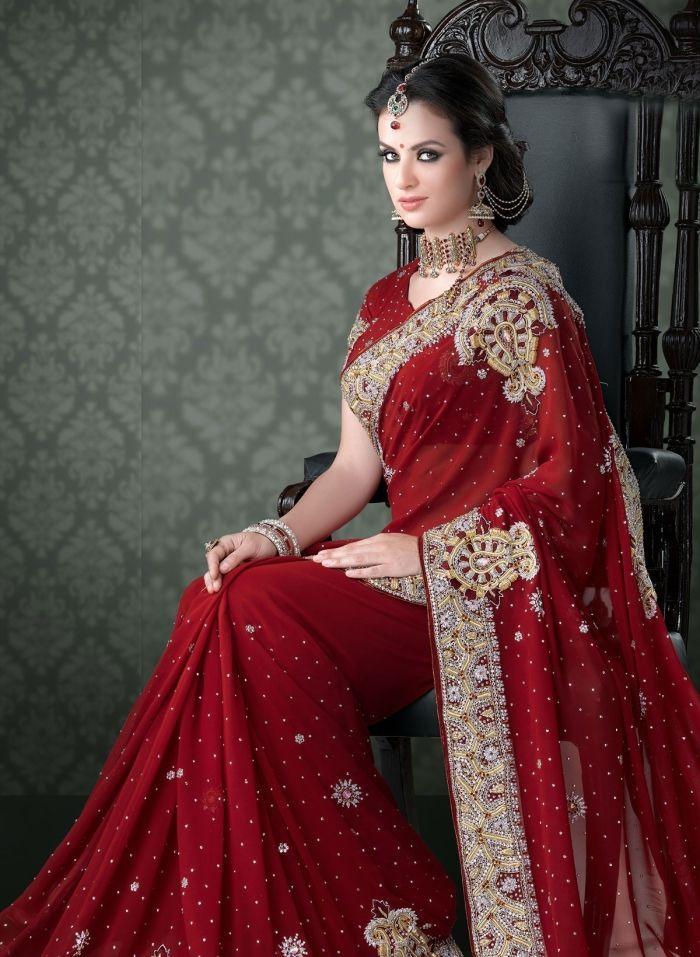 Gorgeous Bridal Red Saree Indian Bridal Sarees Indian Bridal Saree Designs