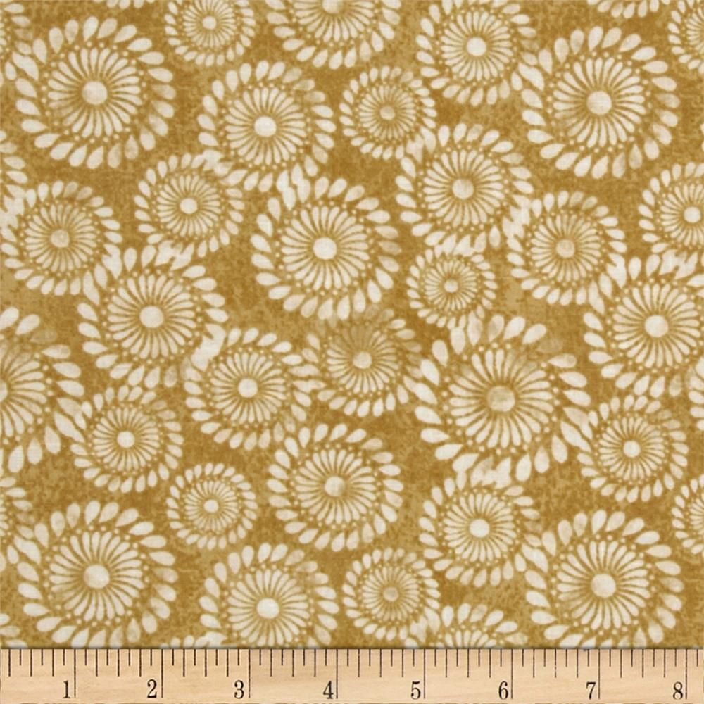 A New Leaf Pinwheel Swirl Honey from @fabricdotcom  Designed by Mitzi Powers for Benartex, this cotton print is perfect for quilting, apparel and home decor accents. Colors include white and shades of honey gold.