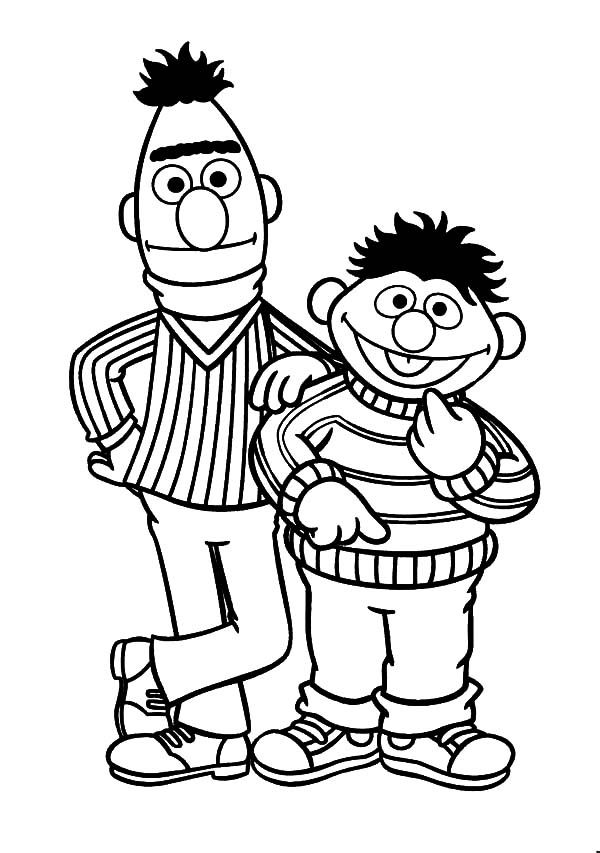 Ernie And Bert Coloring Pages in 2020   Ernie und bert ...
