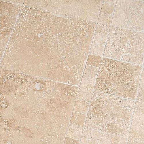 Tumbled Light Beige Stone Effect Travertine Wall Floor: This Antique, Aged And Tumbled Travertine Tile Looks