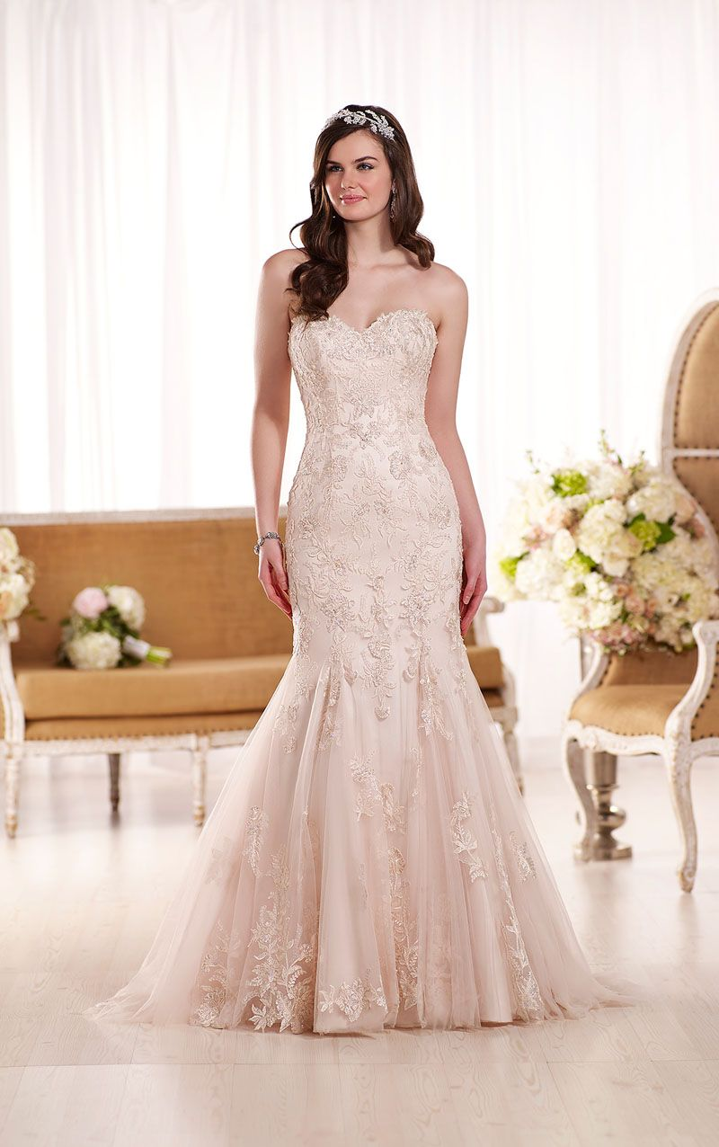Blush Strapless Romantic Lace Wedding Dress Trumpet Open Back My - Romantic Lace Wedding Dress