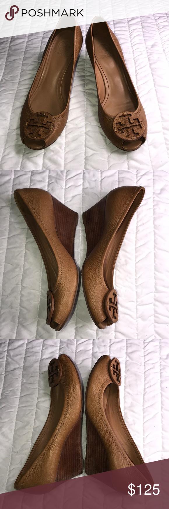 5e22a19d7 Tory Burch Sally 2 tumbled leather wedge sz 8.5 US Tory Burch Sally 2 royal  tan
