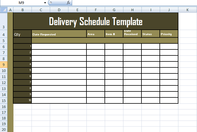 Format Of Delivery Schedule Template In Excel | Exceltemple | Excel ...