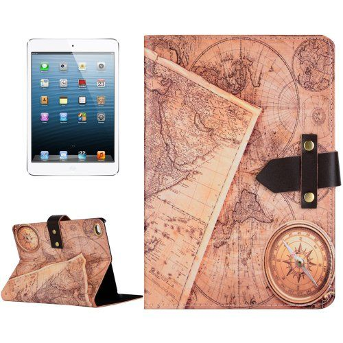 For+iPad+mini+4+Compass+&+Map+Pattern+Leather+Case+with+Holder+&+Genuine+Leather+Belt+Fastener