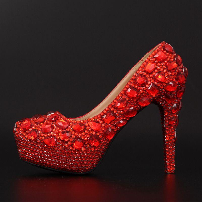 bcde0b91dac53c Chaussures crystal strass rouge magnifique escarpin femme discount pour  robe de soirée au talon aiguille plate-forme Plus