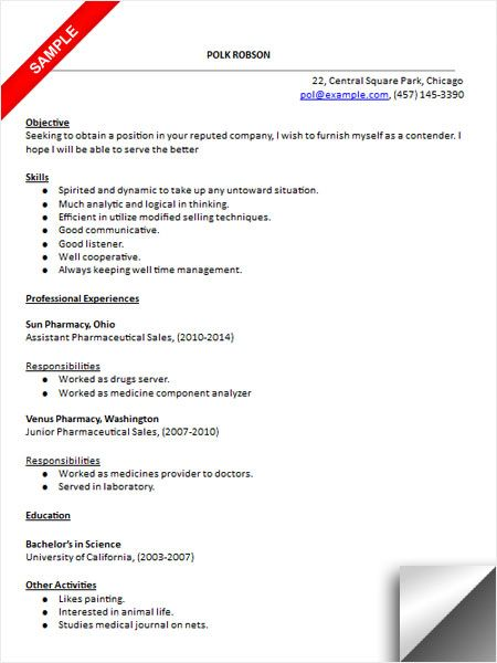 Pharmaceutical Sales Resume Sample  Resume Examples