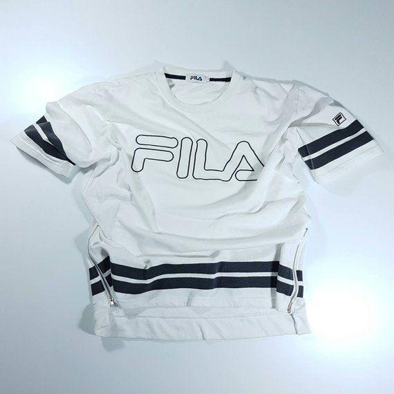 Vintage Fila big logo Tshirt Sweatshirt White L Pullover