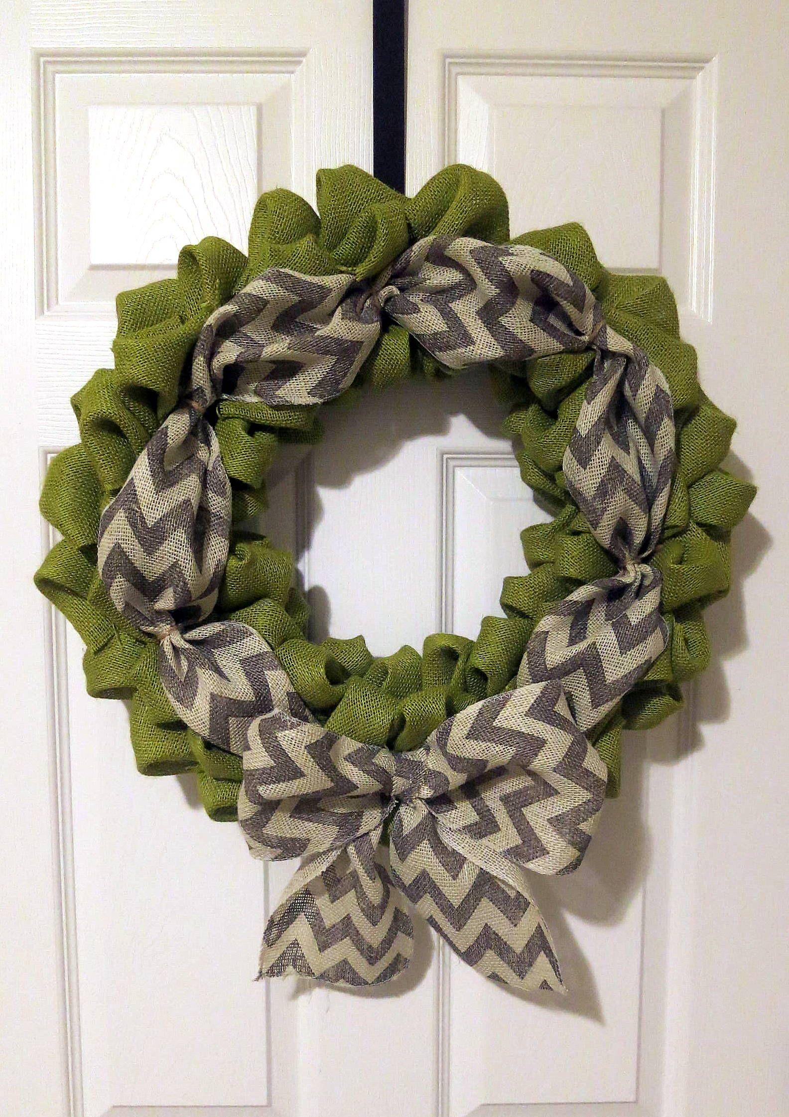 Green burlap wreath with gray chevron ribbon