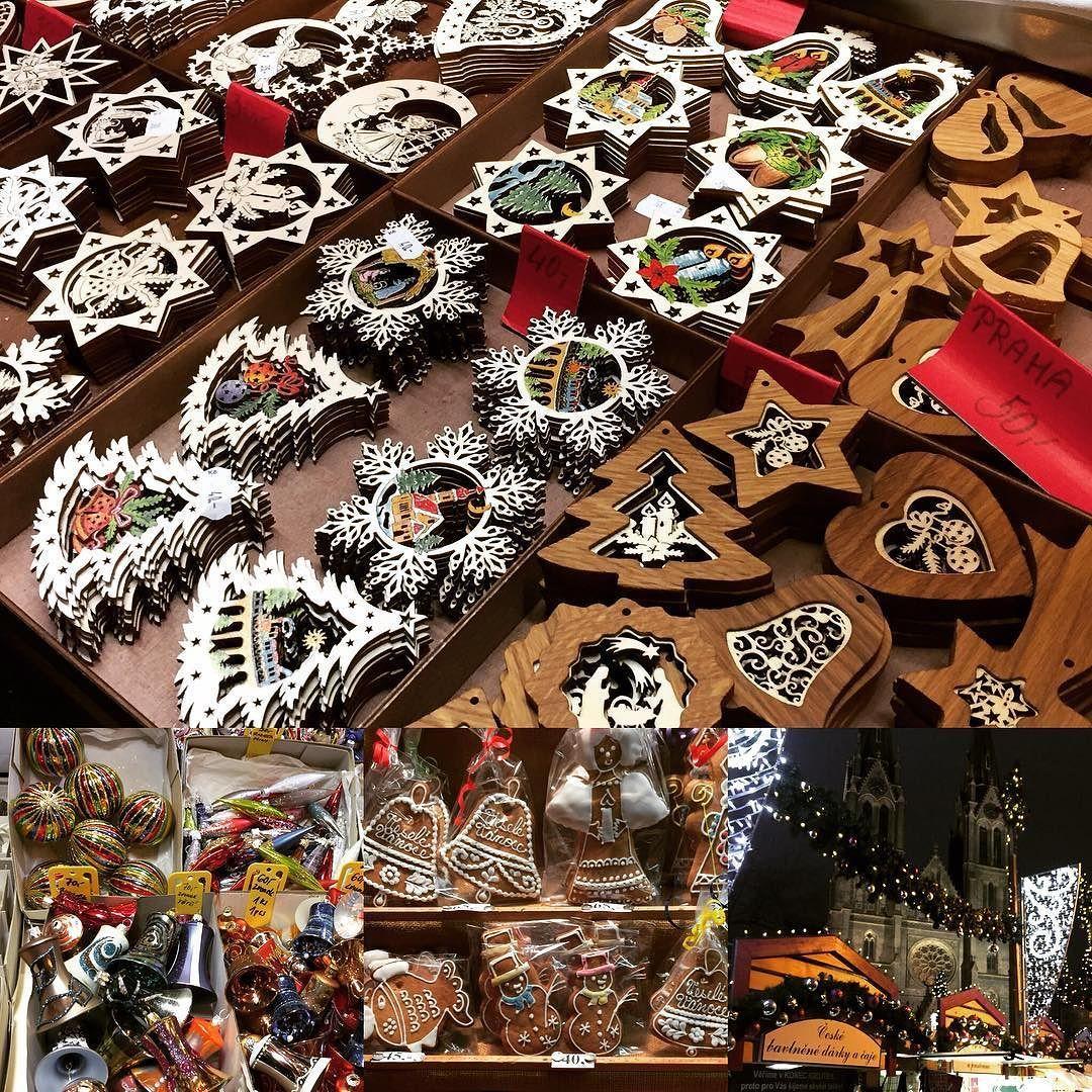 Christmas market at Náměstí Míru #christmasmarket #gingerbread #christmastreedecorations ...
