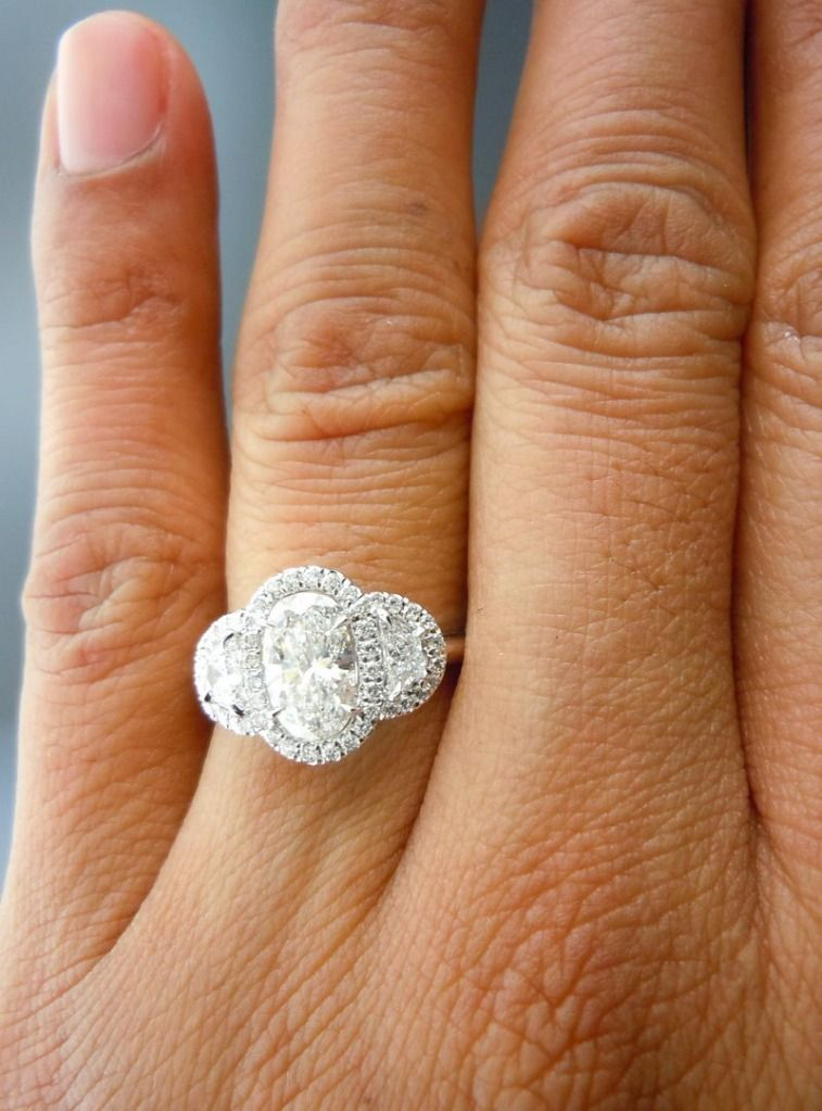 ff9fa08953f48 halo 3 stone w/ 1.01ct oval center and half-moon sides ~Diamonds by ...