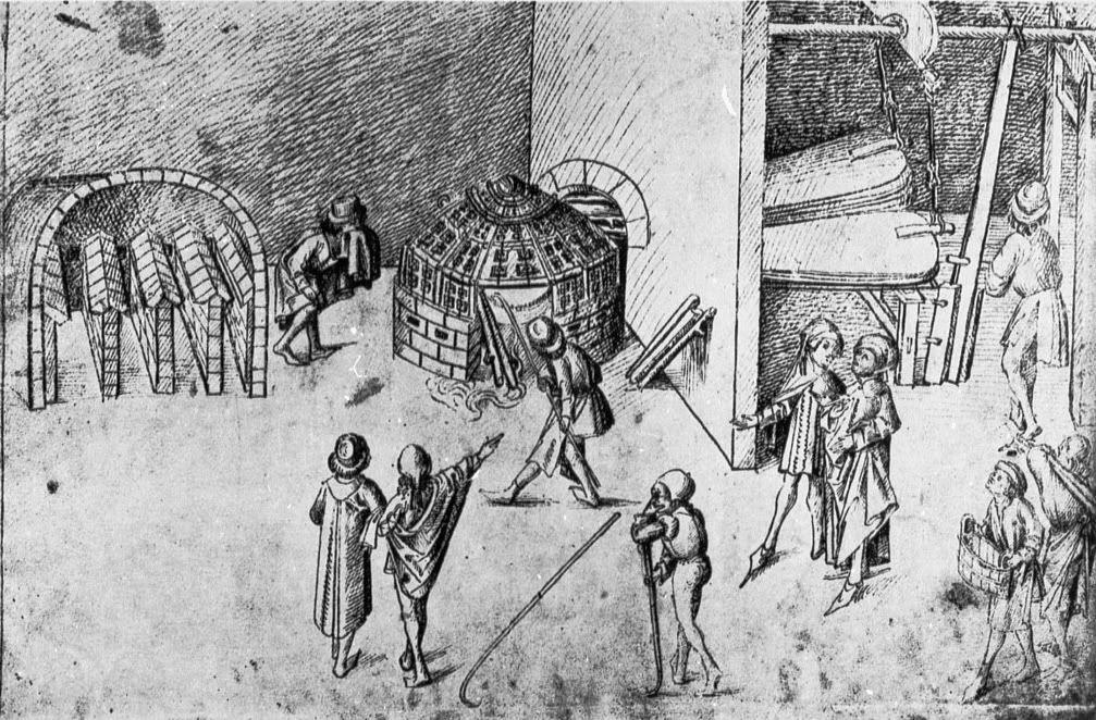 Master of the Housebook. Metallurgical Plant. 1475/1485. Schloß Wolfegg / Sammlung Fürst von Waldberg zu Wolfegg und Waldsee. Wolfegg, Germany.
