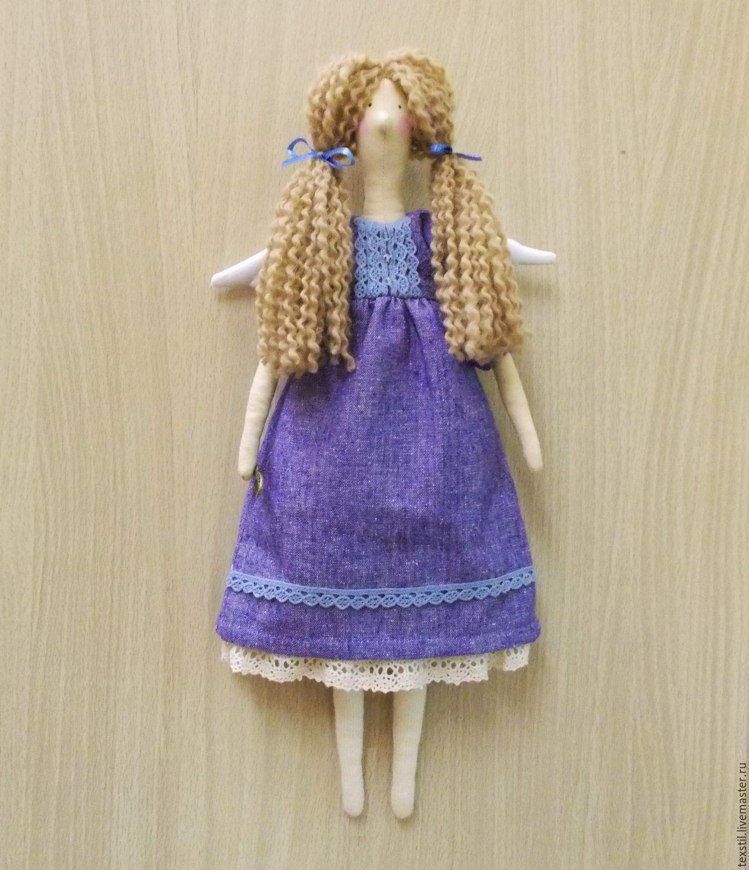 """Купить Тильда феечка """"Лавандина с  расчёской"""". Текстильная кукла лавандовая. - васильковый, лавандовый, лаванда"""