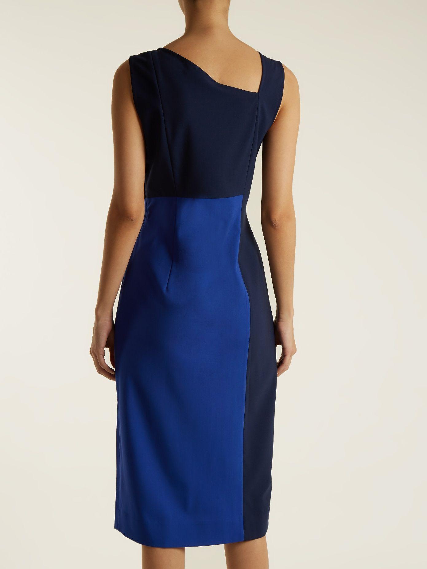 Asymmetric-panelled wool-blend dress Diane Von F DYwpUrN