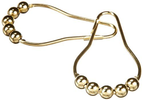 Heavy Duty Roller Shower Curtain Rings Polished Brass Clipperton