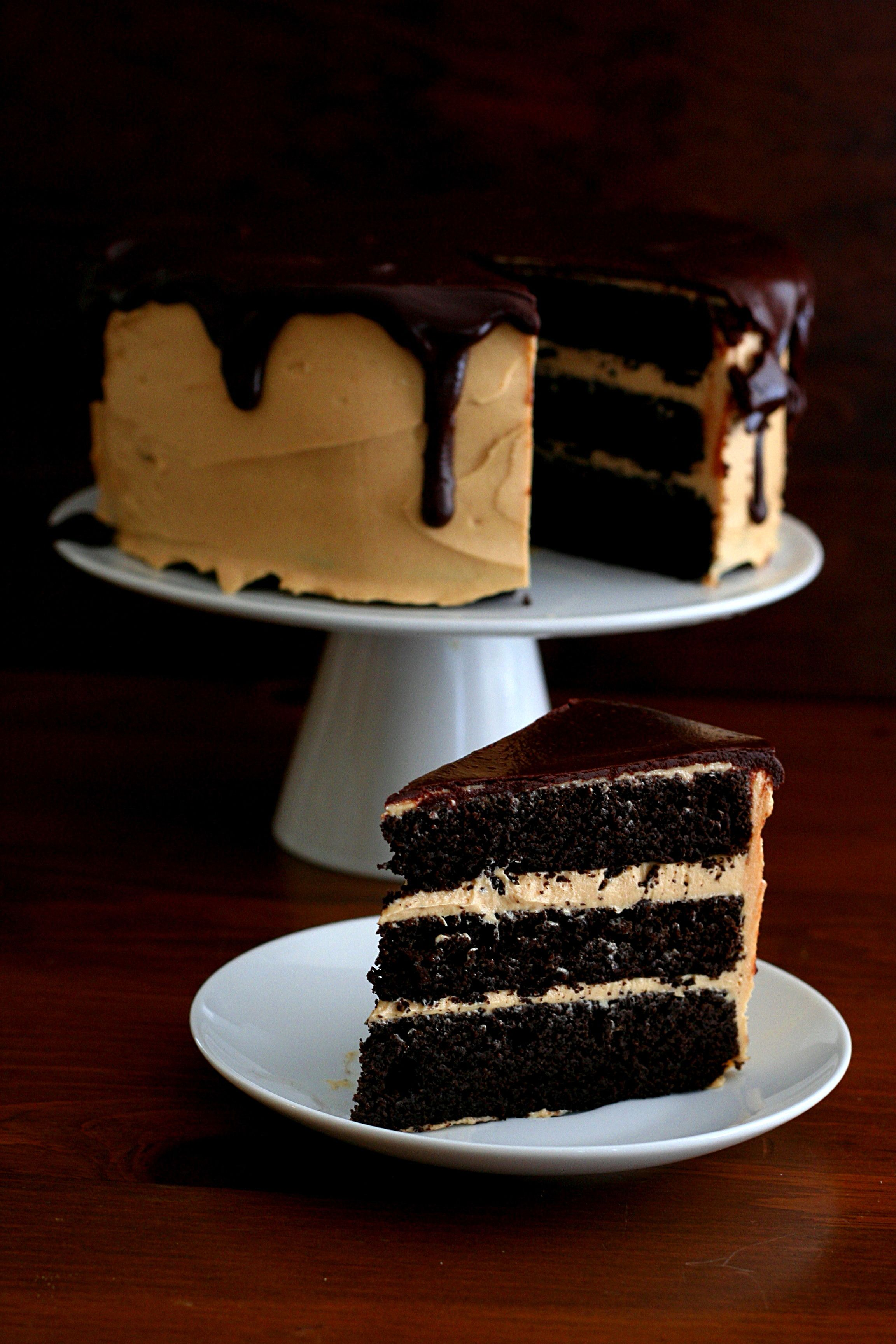 Dark Chocolate Peanut Butter Layer Cake, made with Honeyville Blanched Almond Flour - Submitted by Carolyn