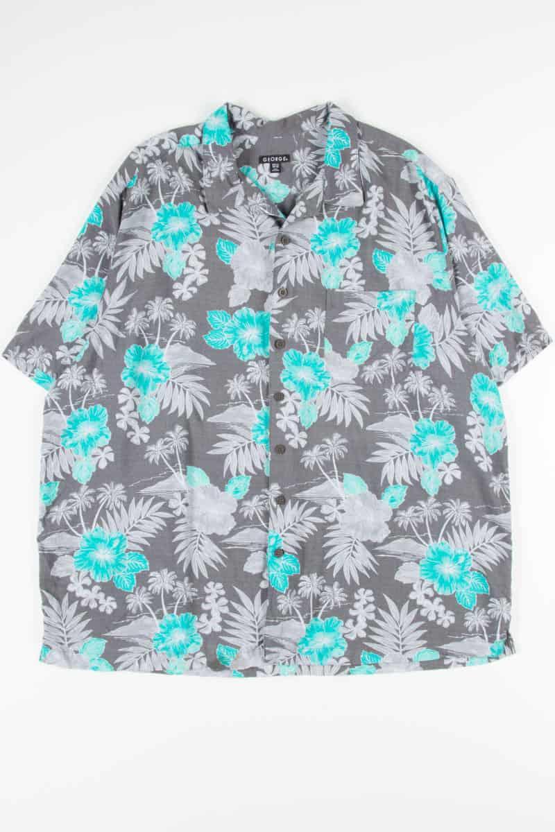 Grey Teal Hibiscus Vintage Hawaiian In 2020 Vintage Hawaiian Vintage Hawaiian Shirts Vintage