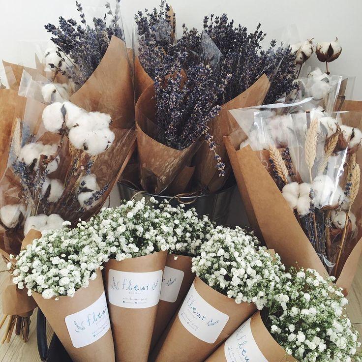 Fleur Boutique dried flower bouquet Lavender wheat, Cotton balls ...