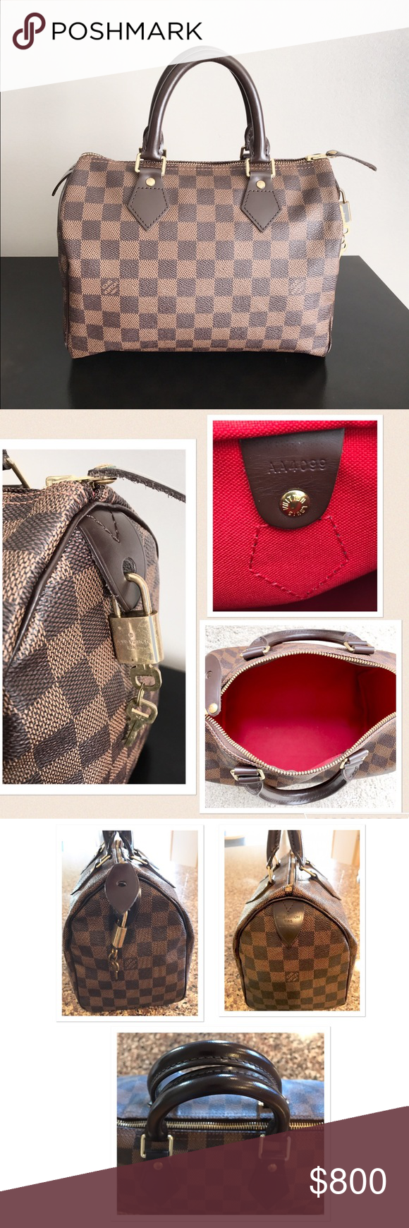100 Authentic Mini Louis Vuitton Made In France Has No Date >> Louis Vuitton Speedy 25 Damier Ebene Date Code Is Aa4099