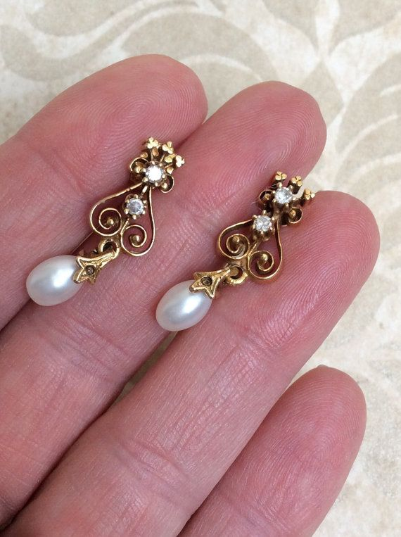 9b838034e Vintage DIAMOND PEARL DRoP EARRiNGS Beautiful Art Nouveau Gorgeous ...