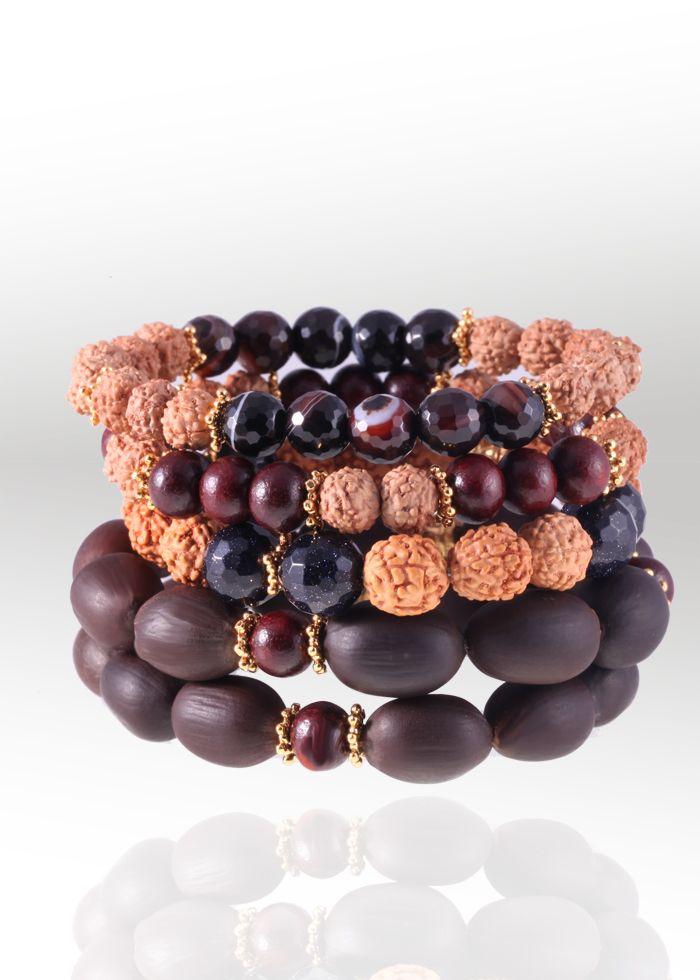 Power bracelet stack with sacred lotus seeds, rudraksha and sandalwood for grounding, balance & peace of mind $149.00 www.omshivaloka.com