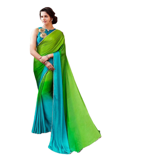 b8913faca33e04 This is a beautiful sky blue and green color combination of saree and the  saree fabric is silk and it has a soft finishing. the saree is plain and it  has a ...