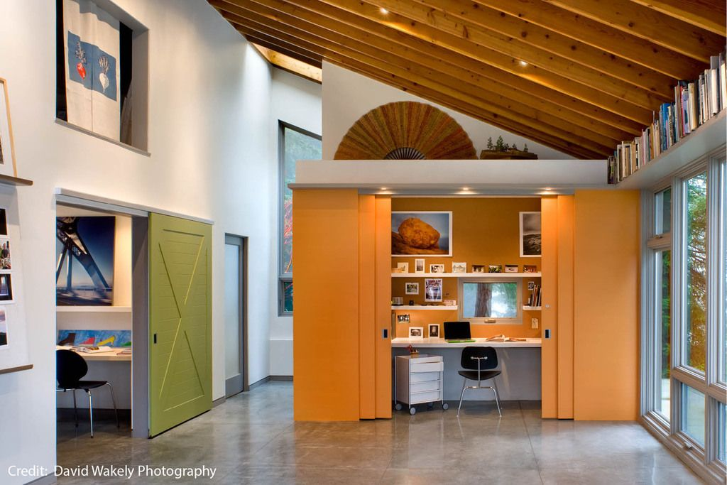 contemporary home office sliding barn. Contemporary Home Office By Cathy Schwabe Architecture. Sliding Barn Door Options - Studio Cabin Architect Y