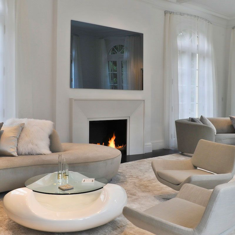Mirror tv above fireplace lifestyle series framed mirror