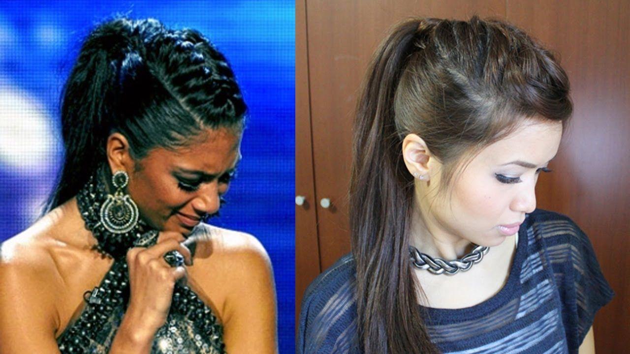 Nicole scherzinger french braid edgy ponytail hairstyle for medium