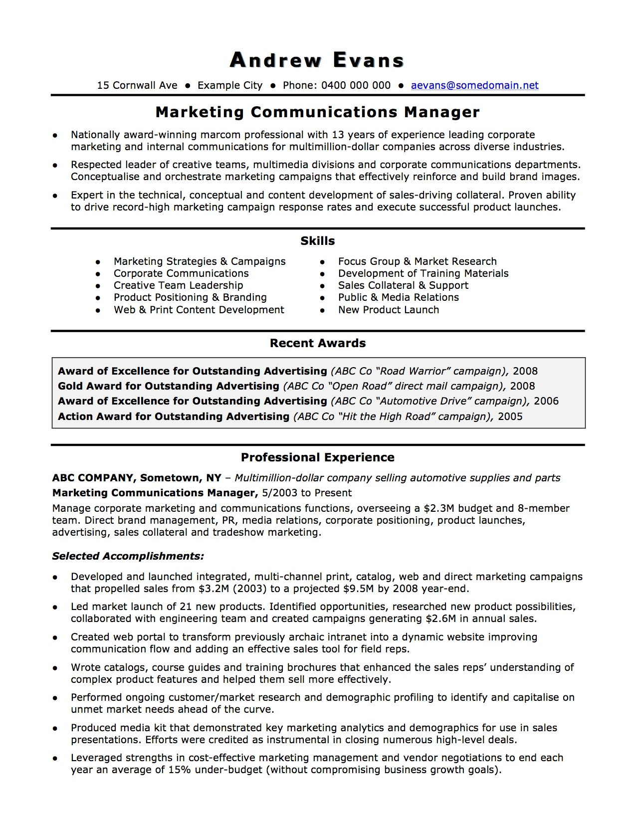 German Language Specialist Sample Resume Business