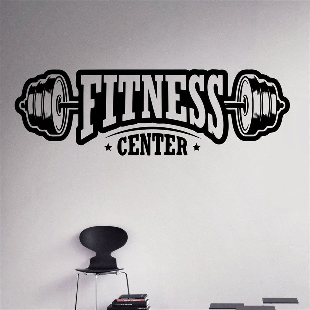 Fitness Center Wall Decal Workout Gym Vinyl Sticker Healthy Lifestyle Home Interior Wall Art Murals Housewares Design(China (Mainland))