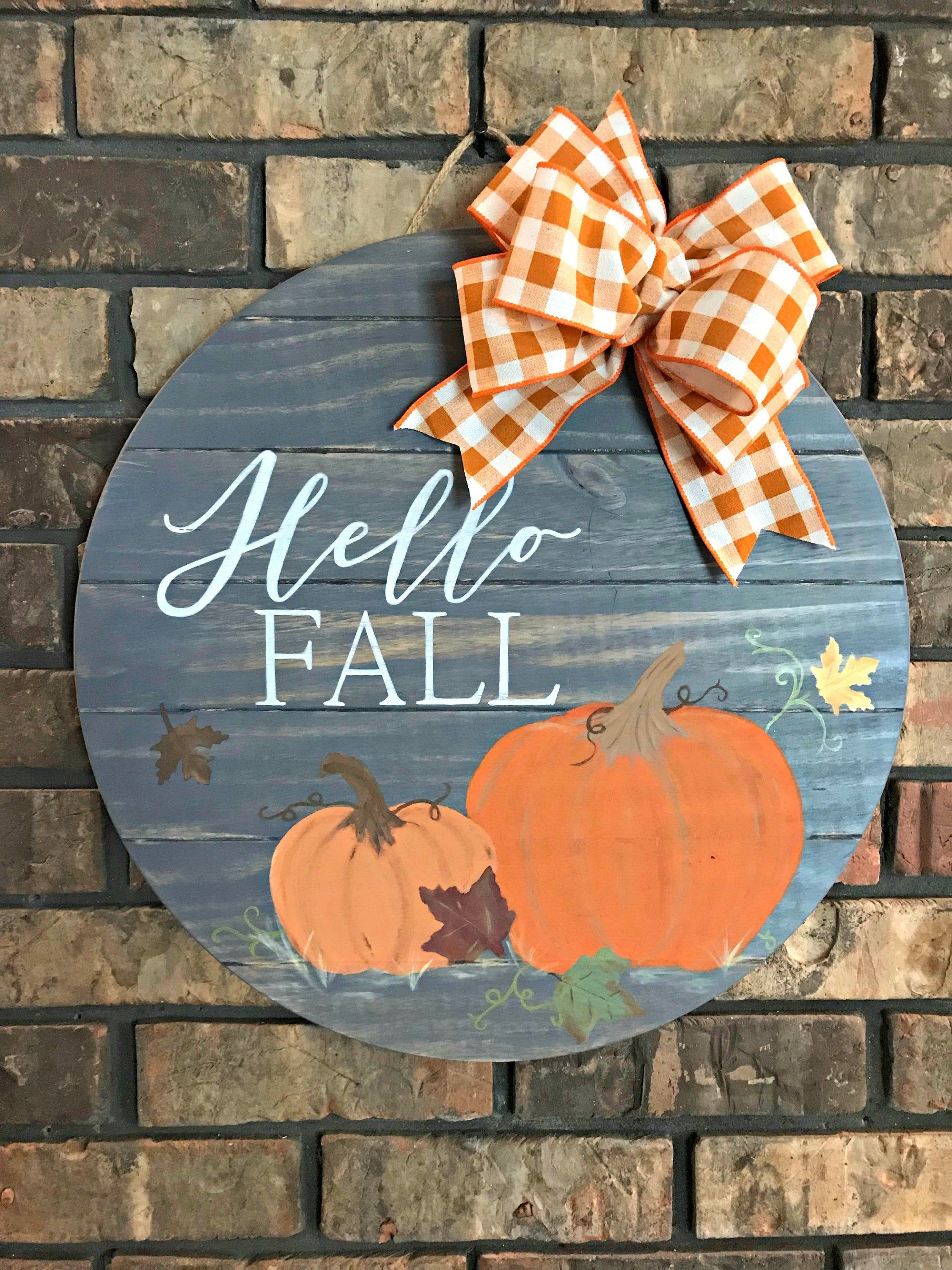 Hello Fall Wooden Door Hanger with Pumpkins, Hand-Painted Round Sign, Fall Sign, Autumn Porch Decor, Hostess Gift, Classroom Decoration