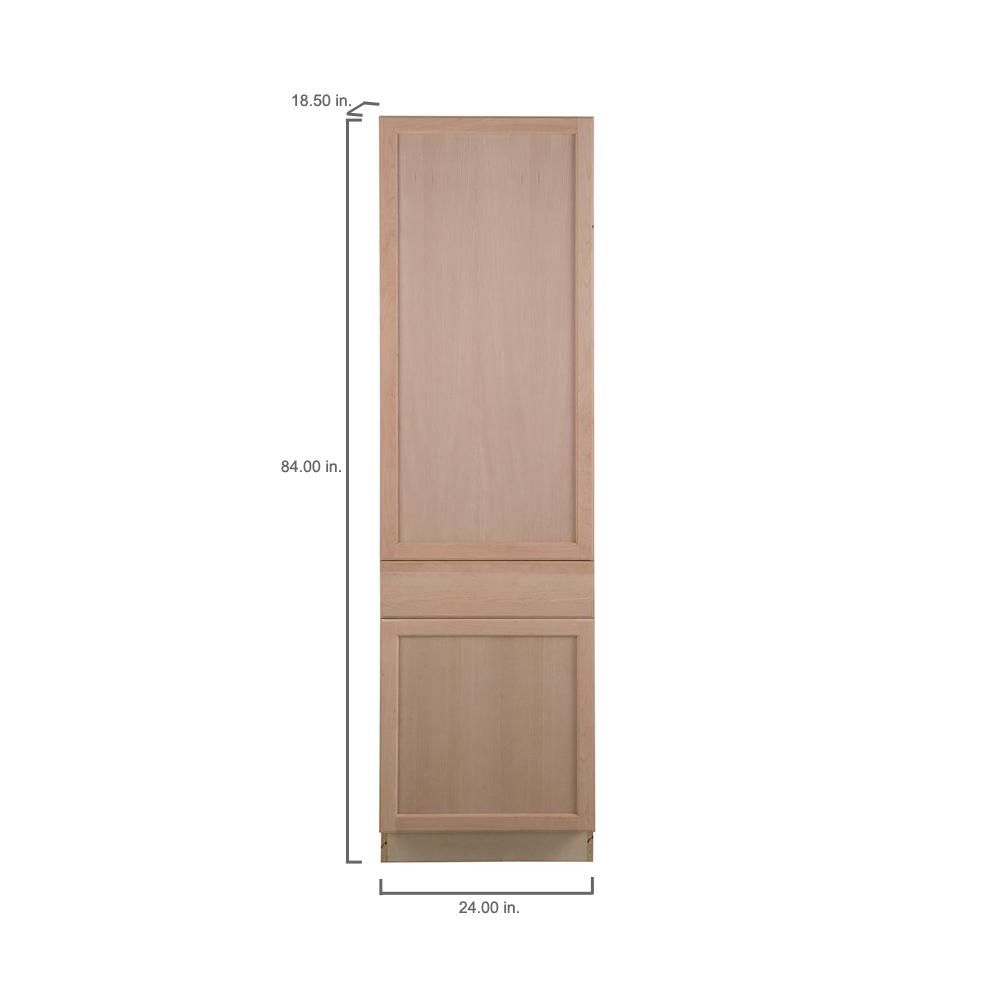 Hampton Bay Easthaven Shaker Assembled 24x84x18 In Frameless Pantry Base Cabinet With Adjustable Shelves In Unfinished Beech Eh2484p Gb The Home Depot Adjustable Shelving Base Cabinets Cabinet