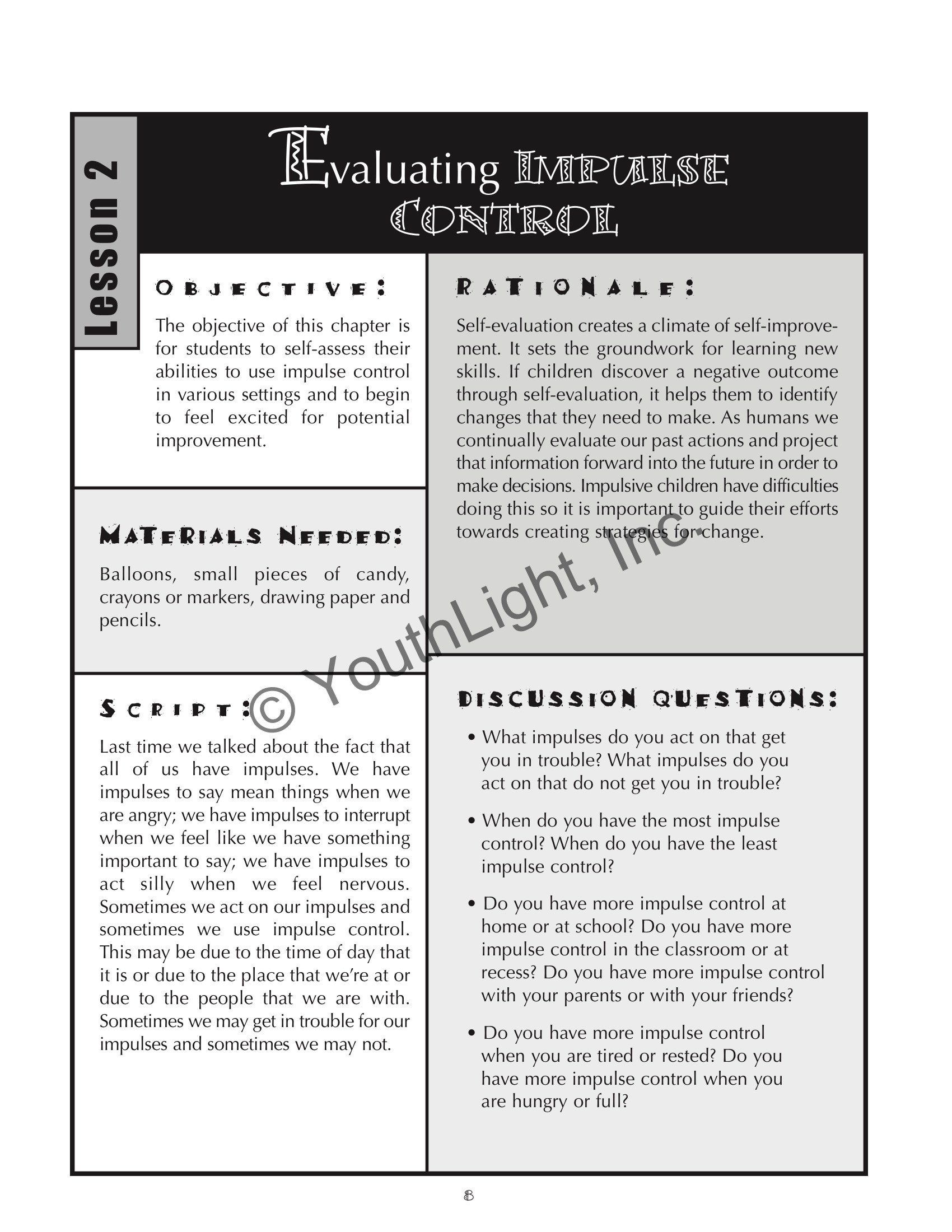 Stop Think Act Review Worksheet Impulse Control Activities
