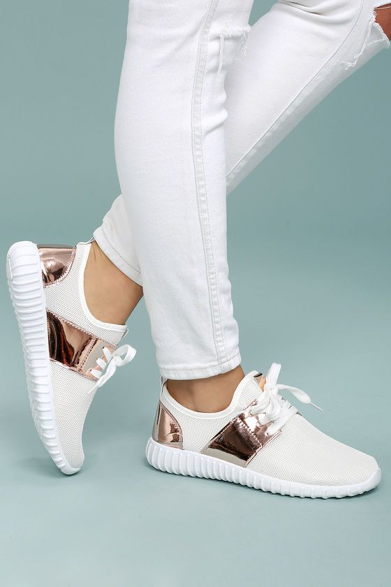 Lena White Knit Sneakers