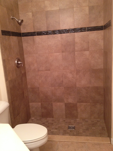 Waterproofed Tile Shower Installation Sun City Center Florida 10x13 Porcelain Tile 3x13 Glass Accent 2x2 S House Bathroom Shower Installation Shower Floor