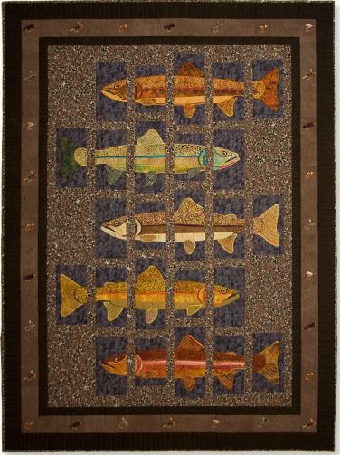 The Great Outdoors Mountain Wildlife And Fish Quilts Wildlife Quilts Fish Quilt Animal Quilts