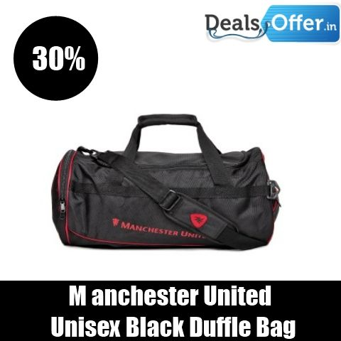 Manchester United Unisex Black Duffle Bag @ 30% Off