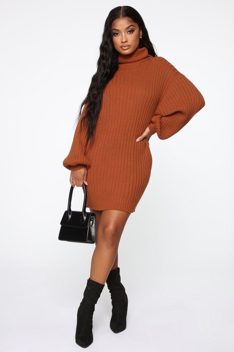 Too Cozy Turtle Neck Sweater Dress Cognac in 2021