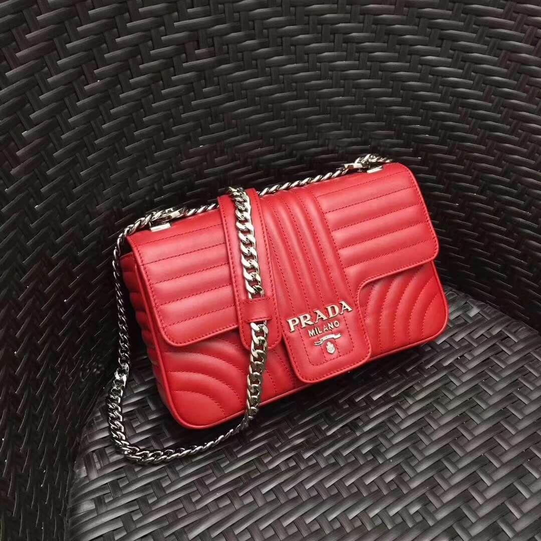 de9e25e7aab9 Prada Diagramme Leather Flap Shoulder Bag 1BD108 Red 2017 | Prada ...