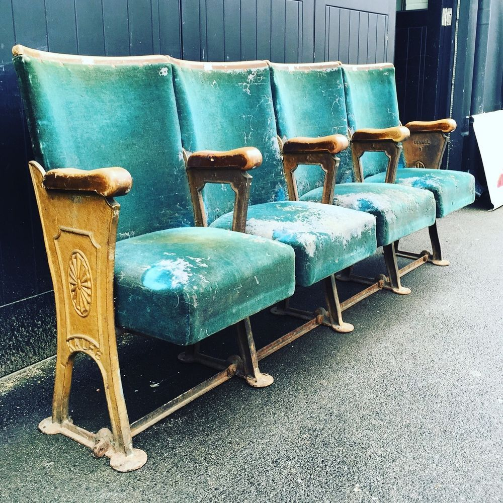 Stunning Row Of Four Art Deco Vintage Cinema Theatre Seats - Stunning Row Of Four Art Deco Vintage Cinema Theatre Seats